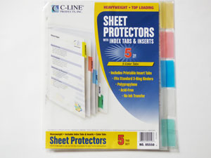 Sheet Protectors with Index Tabs