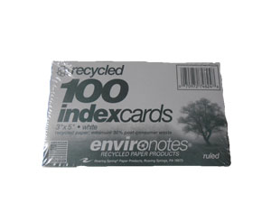 Recycled Index Cards:  3x5 ruled