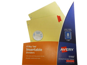 AVery 8 Tab Big Tab Dividers